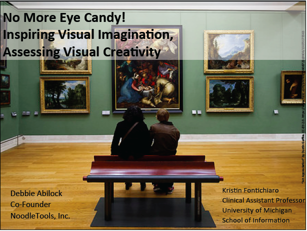 "Image of title slide from TXLA presentation ""No More Eye Candy!"" on visual literacy"