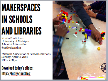 "Screenshot of title slide for ""Makerspaces in Schools and Libraries"" talk"