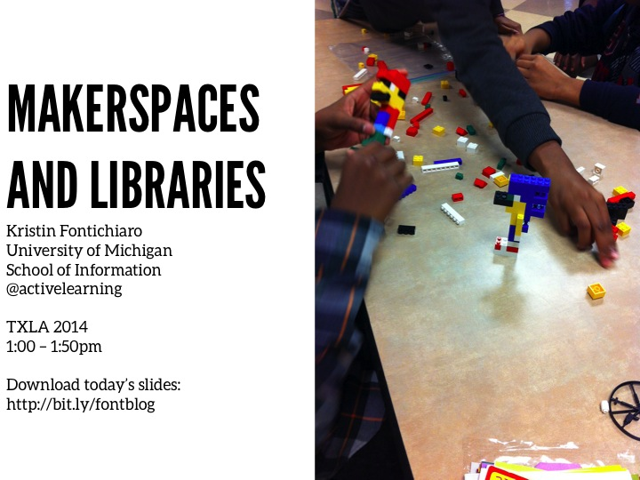 Image of the title slide from the TXLA Makerspaces and Libraries slide deck