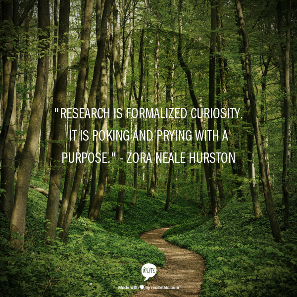 "Graphic that reads, ""Research is formalized curiosity. It is poking and prying with a purpose."" - Zora Neale Hurston"