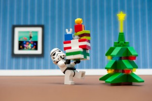 LEGO art: Stormtrooper bringing gifts to the holiday tree. See blog post for citation info.