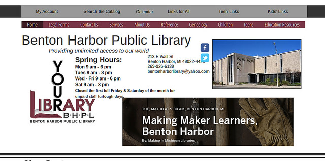Decorative: screengrab of Benton Harbor Public Library home page, featuring Making Maker Learners
