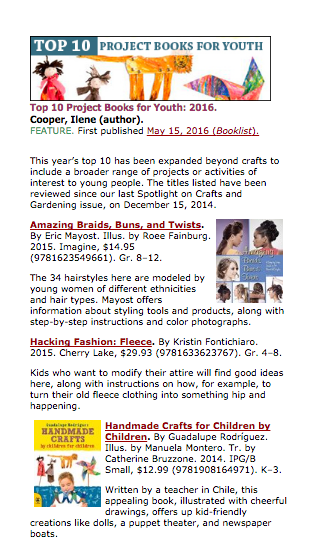 Screenshot from Booklist's Top Ten Project Books for Youth