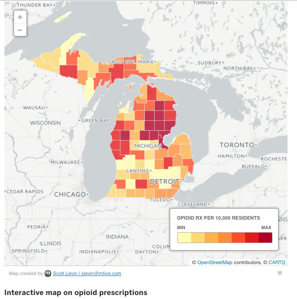 Michigan map showing which counties have higher Rx prescription rates (Detroit area shown as very light)