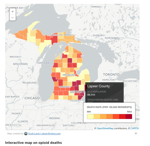 Michigan map color-coded according to least and most opioid-related deaths per 100,000 residents. Detroit area is very darkly colored, indicating the largest number of deaths