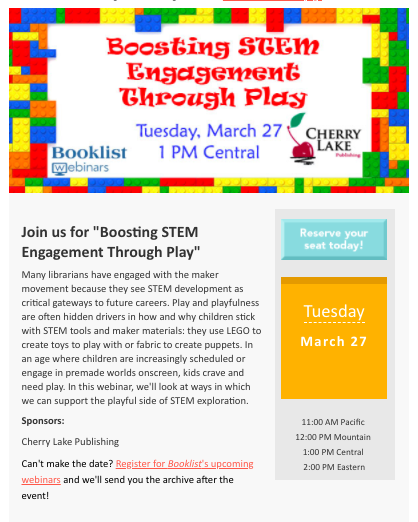 Graphic describing March 27 webinar on STEM and play
